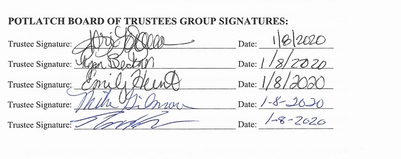 Board of Trustees Signatures- Code of Ethics